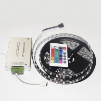 IP65 RGB 5050 Black PCB LED Strip DC12V 60LED/M 5M Light With Controller