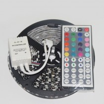 RGB 5050 Black PCB LED Strip DC 12V 60LED/M 5M/Roll With Controller