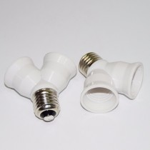 10Pcs Portable E27 LED to Two E27 Lamp Light Bulb Adapter Holder Converter
